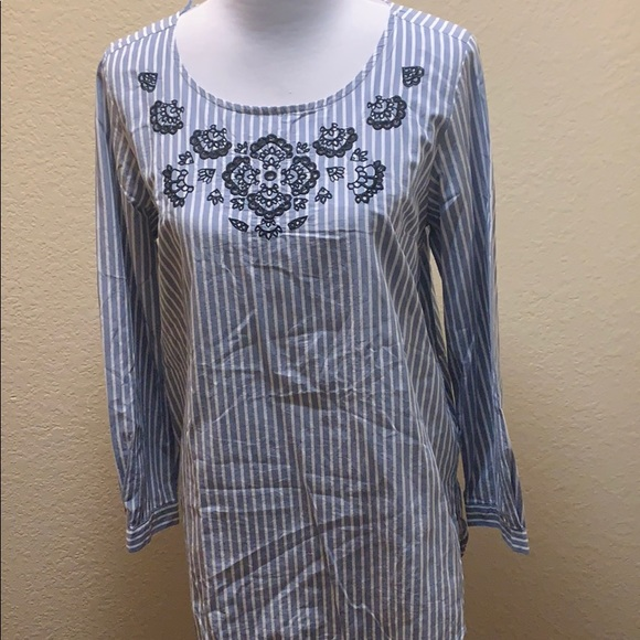 Joe Fresh Tops - joe Fresh Striped Embroidered Blouse